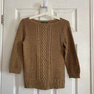 Lauren Ralph Lauren Petite Gold Cable-Knit Sweater